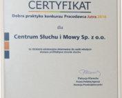 Certyfikat Pracodawca Jutra dla Centrum Słuchu i Mowy