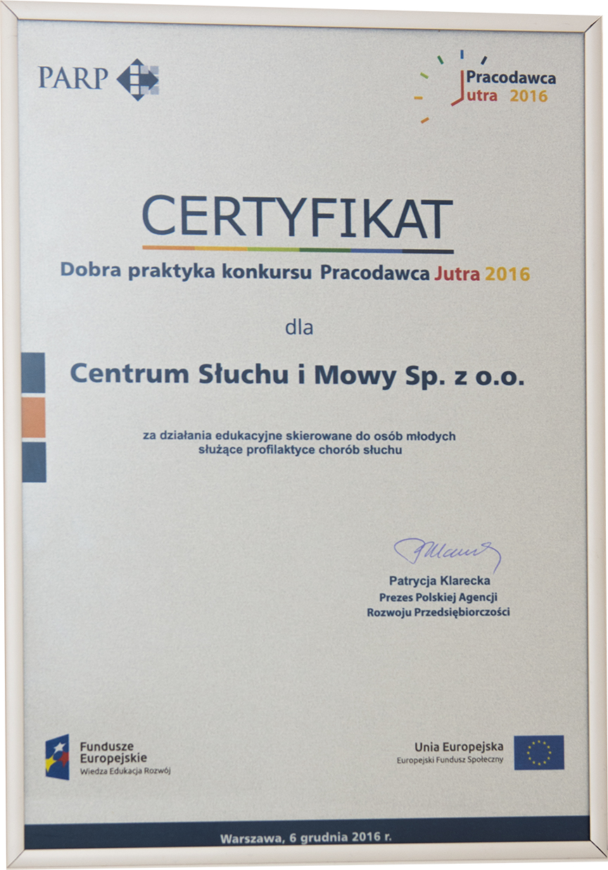 Certyfikat Pracodawca Jutra dla Centrum Słuchu iMowy