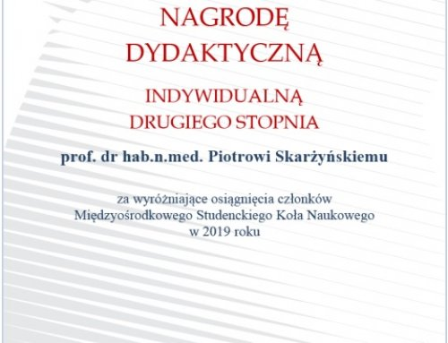 Didactic Award for prof. Piotr H. Skarzynski from the Rector of the Medical University of Warsaw